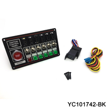 12V Racing Switch Panel Race Car Ignition Accessory Engine Start, 6 Indicator Light  6 Fused Toggle Quick Off  Switch