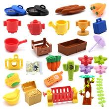 Grandes blocos de construção tijolos fazenda planta árvore utensílios de cozinha série acessórios frutas legumes pão telefone brinquedos para crianças presente