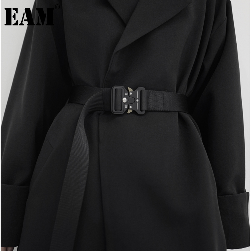 [EAM]  Black Metal Buckle Canvas Brief Long Belt Personality Women New Fashion Tide All-match Spring Autumn 2021 1DB730
