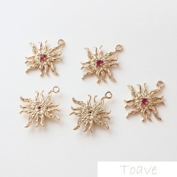 4pcs Rose-Red Sun Copper Maintains Color Electroplated Pendant DIY Ear Stud Bracelet Material Handmade Accessories фото