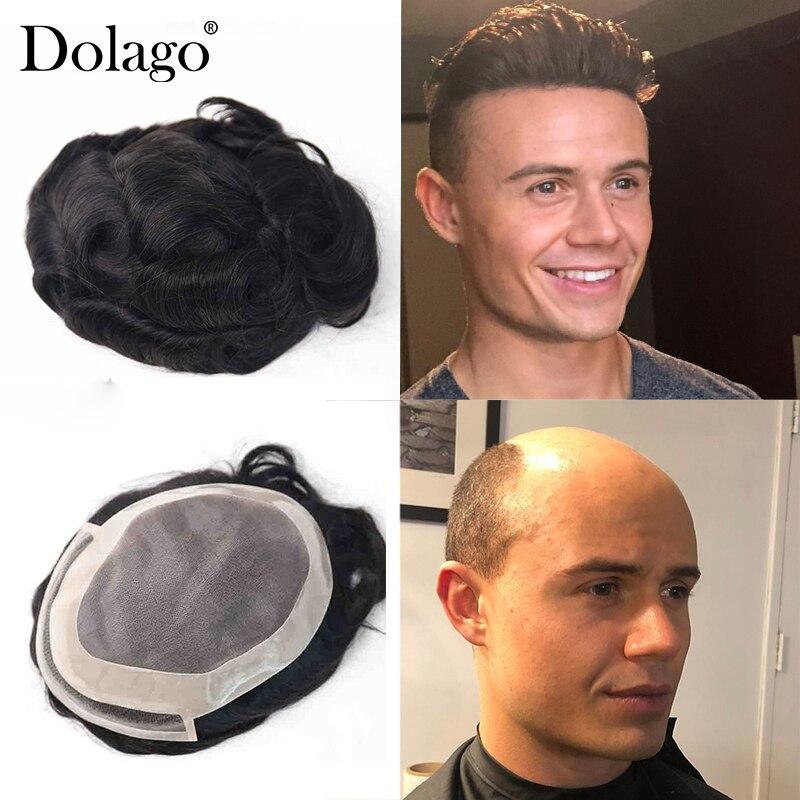 "Men Toupee 8X6"" Fine Mono Center With Poly Perimeter Hair Swiss Lace Men Toupee Repacement Hair Prosthesise Silk Base Dolago"