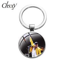Chsxy Nieuwste Queen Freddie Mercury Band Sleutelhanger Rock Zanger Art Glass Dome Hanger Sleutelhanger Ring Voor Muziek Fans Souvenir geschenken