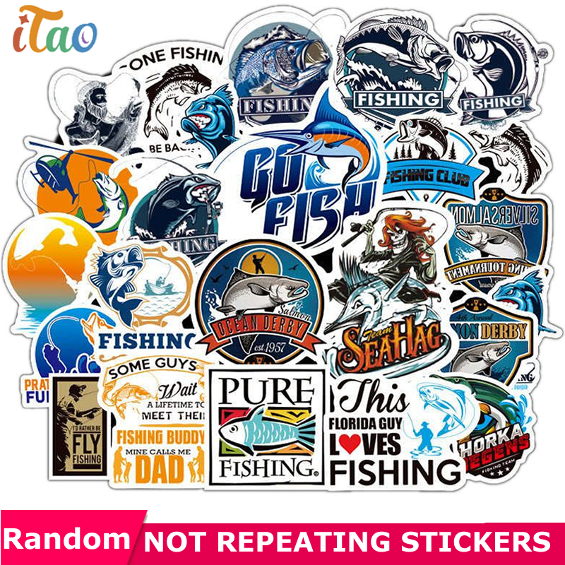 10/20/30/40/50PCS Pack Cartoon Go Fishing Sticker Waterproof PVC Laptop Motorcycle Guitar Snowboard Car Funny Kids Toys Stickers