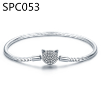(With Box) SPC3 alloy Crown Dangle Charms Silver Crystal Glass Bead Bracelets for Women Fit Pulseira Bracelets