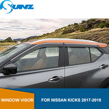 цена на Smoke Car side Window Deflector For NISSAN KICKS 2017 2018 2019 Window Visor Vent Shades Sun Rain Deflector Guard SUNZ