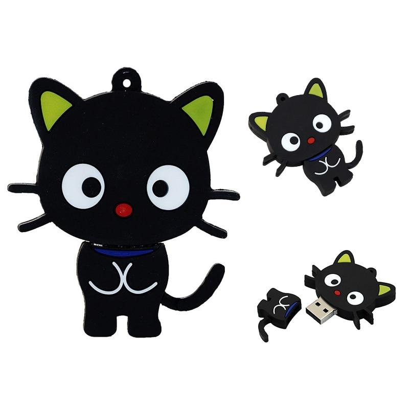 Pen Driver Cartoon Black Cat Pendrive 256GB 32gb 4 64 128 16 8 256 Gb Cle USB Creative Cute Animal U Disk Mini Gift Flash Drive