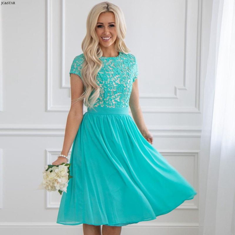 Vestido Casamento Convidada New Lace Chiffon Short Sleeve Aline Turquoise Bridesmaid Dress Short Wedding Party Dress Robe Demois