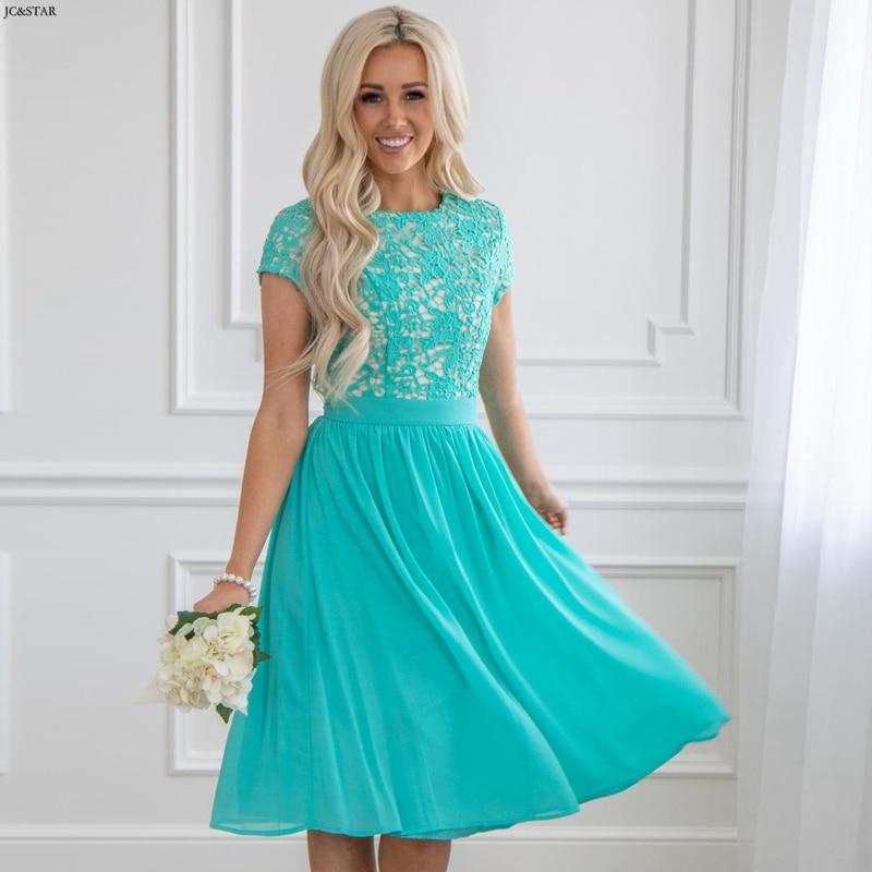 Vestido Casamento Convidada New Lace Chiffon Short Sleeve Aline Turquoise Bridesmaid Dress Short Wedding Party Dress Robe Demois