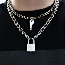 Vintage Key Lock Pendant Necklace for Women Cuban Link Chain Layered Necklace Collier Statement Jewelry Valentine's Day Gift silver link chain vintage layered necklace for women ankh round sun moon pendant necklace boho women s necklace jewelry 2019