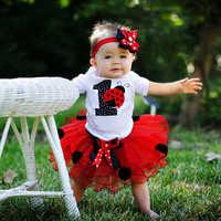 Vestido de fiesta de cumpleaños para niñas de 12 meses, vestido de bautizo de Año Nuevo, traje de tutú Infantil para recién nacidos, ropa roja de primera Navidad