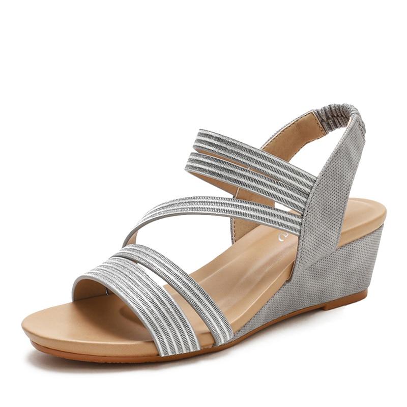 Летние туфли на танкетке женские модные дизайнерские женские сандалии на высоком каблуке мягкие кожаные женские туфли лодочки большого размера 36 42|Боссоножки и сандалии| | АлиЭкспресс