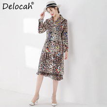 Delocah Runway Fashion Autumn Winter Coats Womens Long Sleeve Leopard Printed Double Breasted Elegant Vintage Female Coat