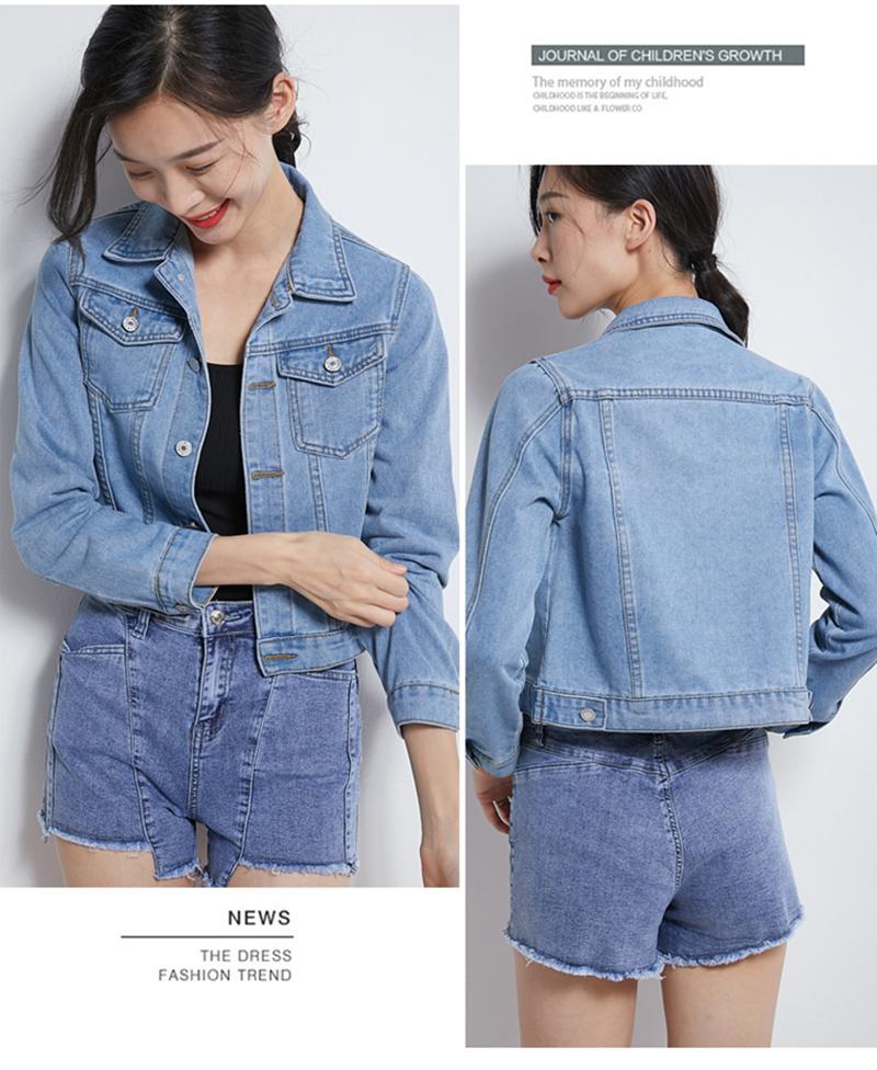 Jeans Jacket and Coats for Women 2019 Autumn Candy Color Casual Short Denim Jacket Chaqueta Mujer Casaco Jaqueta Feminina (5)