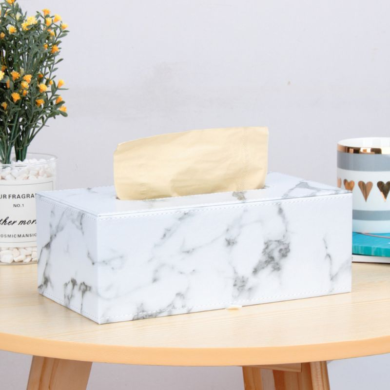 Rectangular Marble PU Leather Facial Tissue Box Cover Napkin Holder Paper Towel Dispenser Container for Home Office Car Decor