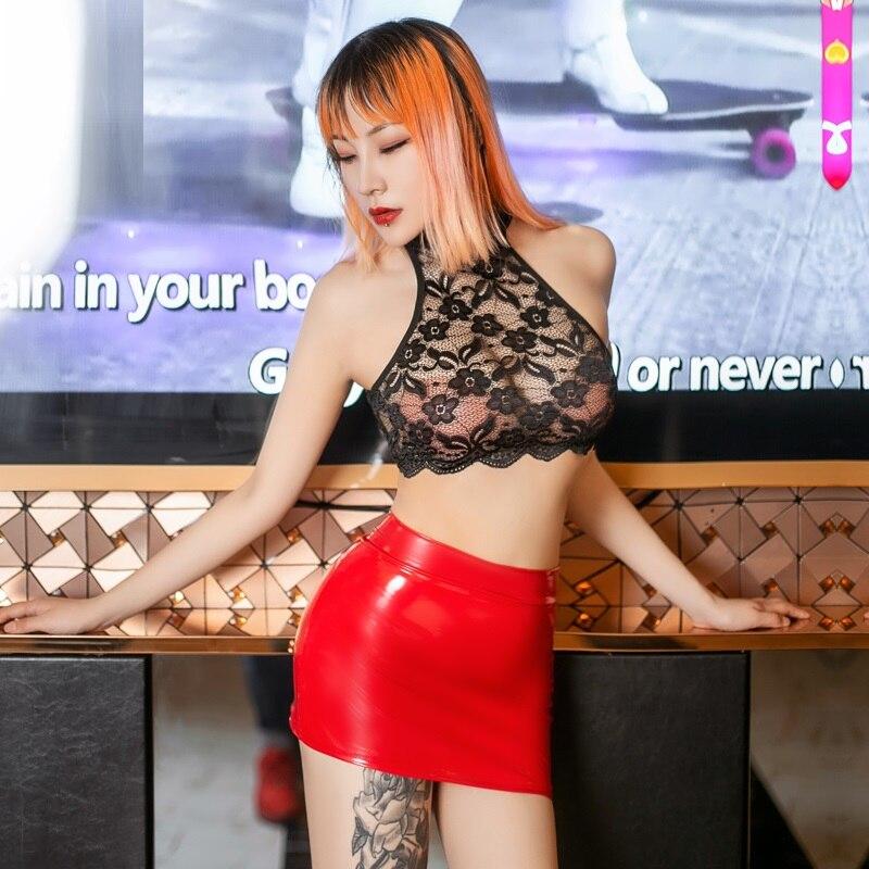 Sexy Women LaceTransparent Wrap Chest Turtleneck Short Top+Wetlook PU Patent Leather Zipper Open Latex Mini Skirt Sexy Lingerie