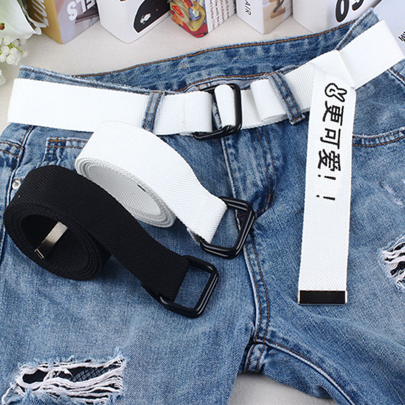 White Black Canvas Belt For Women Men Jeans Chinese Characters Personality Double Ring Buckle Belt Casual White Waistband Z3