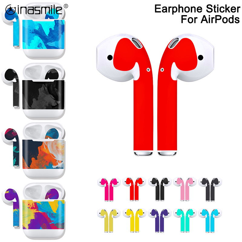 Fashion Earbuds Earphone Sticker DIY Personality Color Skin For Apple Airpods 1 2 Earphone Sticker Charging Case Box Sticker