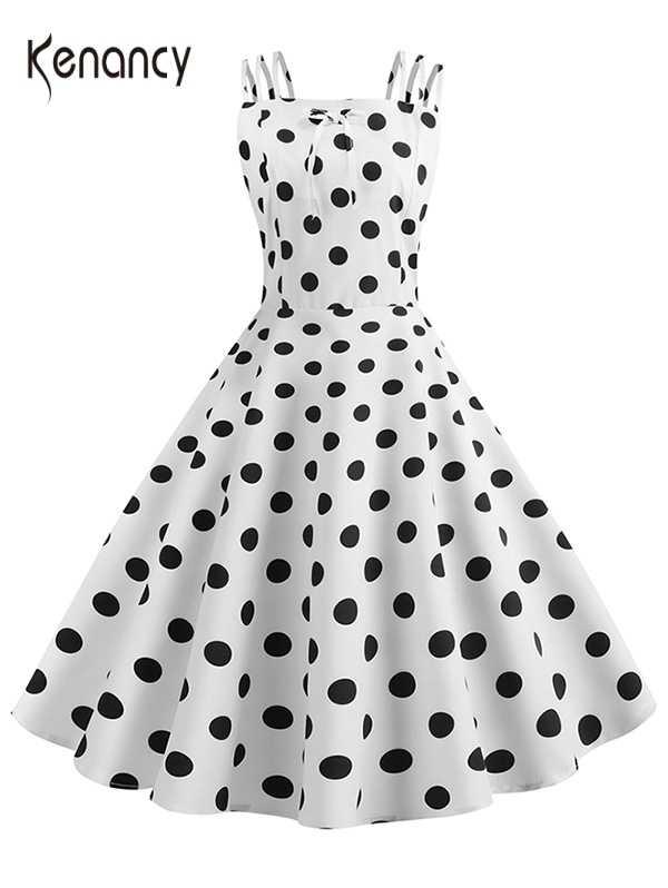 Kenancy Ikatan Simpul Polka Dot Vintage Gaun Musim Panas Pin Up Wanita Hepburn 50 S Retro Rockabilly Kasual A-line Gaun Pesta 2XL