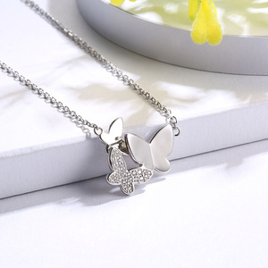 Image 3 - SG chain necklace women jewelry 925 sterling silver 3 butterfly necklaces with cz Fashion Party jewelry 2019 NEW arrive