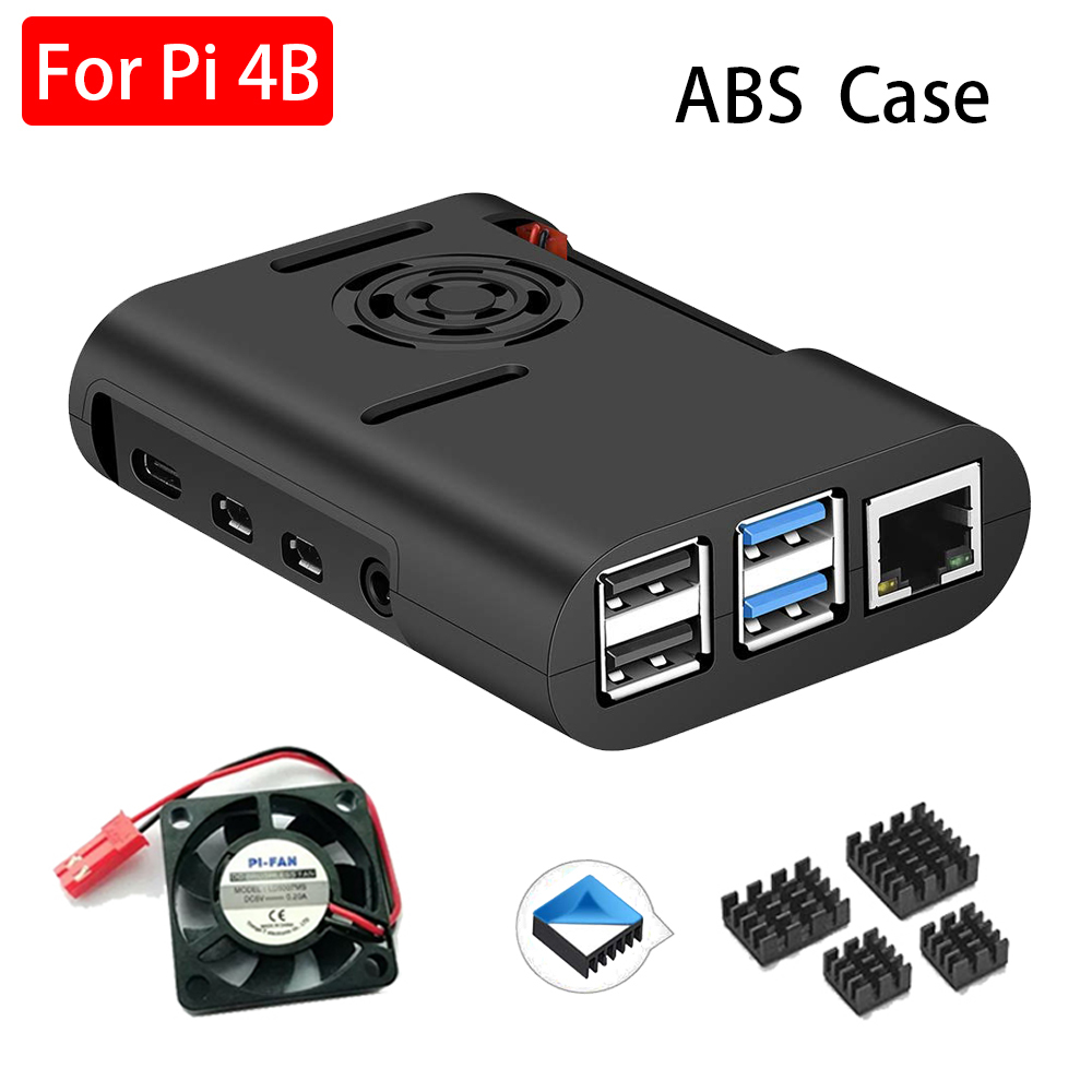 Raspberry Pi 4 Case ABS Case With Fan Black Shell Enclosure Aluminum Heat Sink For Raspberry Pi 4 Model B Pi 4B Pi4