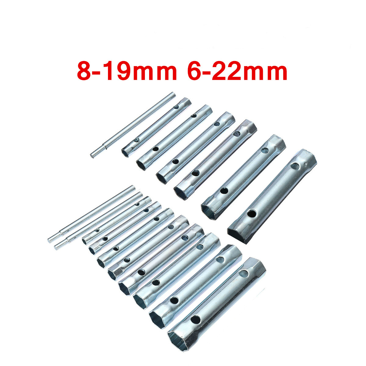 6PC/10PC 8-19mm 6-22mm Metric Tubular Box Plumb Repair Steel Double Ended Wrench Set Tube Bar Spark-Plug Spanner For Automotive