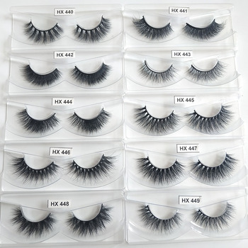 Hexuan Lashes Wholesale 30 pairs/pack 3D Mink Lashes Only Tray No Packaging Boxes Full Strip Lashes Mink Eyelashes Custom Boxes