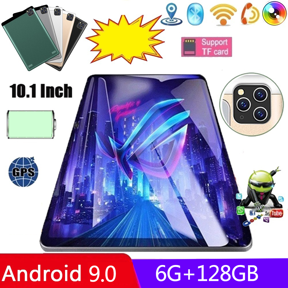 2021 Android 9,0 планшетный ПК 10,1 дюймов 6 ГБ + 128 Гб Wi-Fi Планшеты двухслойный чехол для смартфона с принтом Камера Dual Sim карты 4G телефонными звонками ...