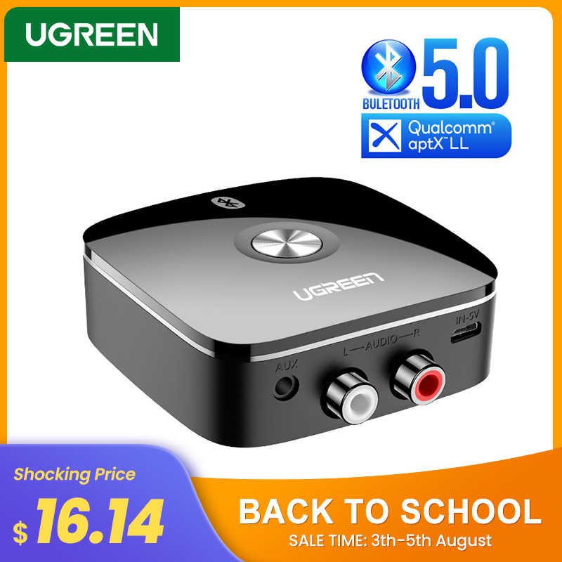 UGREEN Bluetooth Empfänger 5,0 Wireless Auido Musik 3,5mm RCA APTX LL Niedrigen Latenz Hause Musik Streaming Sound 3,5mm 2RCA Adapter