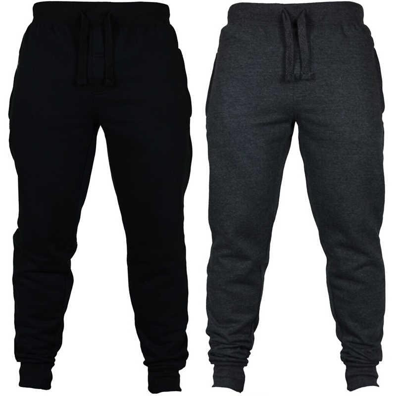 Erkek spor salonu Slim Fit pantolon eşofman altları sıska Joggers ter eşofman altları artı boyutu