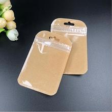 500pcs 7*11cm Small Ziplock Kraft Paper Pack Bags Clear Window Jewelry Zipper Storage Pouch Mini Plastic Ziplock bag