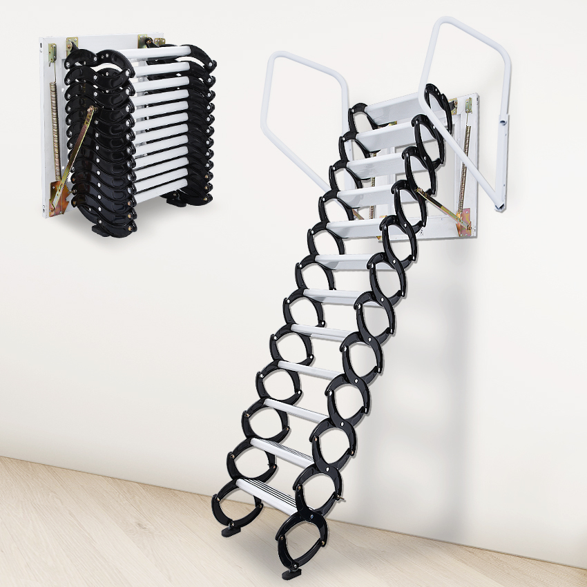 Household Tool Set Outdoor Wall Hanging Retractable Staircase Manual Folding Ladder Portable Telescopic Stair 2.5-3M Chao0008