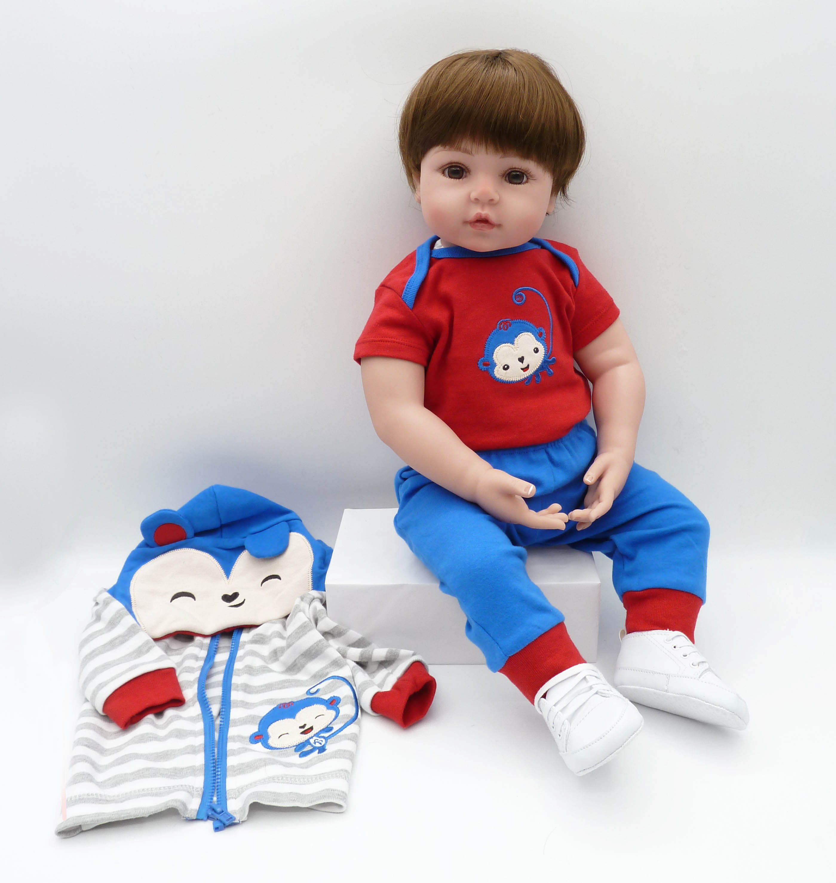 48 cm/60 cm silicone macio reborn, menino, boneca do bebê, brinquedo, realista, vinil, bebês recém-nascidos, boneca, presente de aniversário, hora da cama educação precoce,