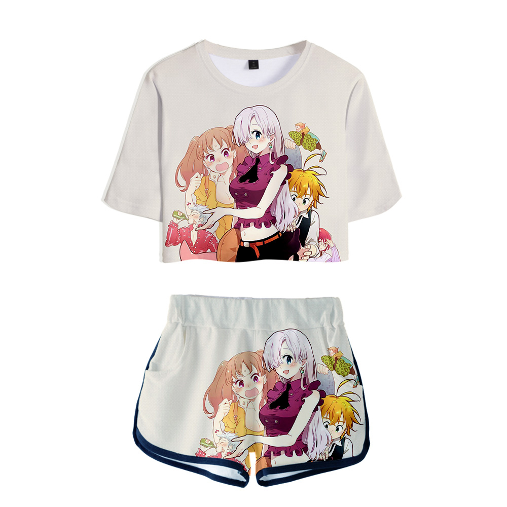 3D Pop Summer Soft Shorts And T-shirts The Seven Deadly Sins Fashion Women Two Piece Sets Cool Print Crop Top Clothes