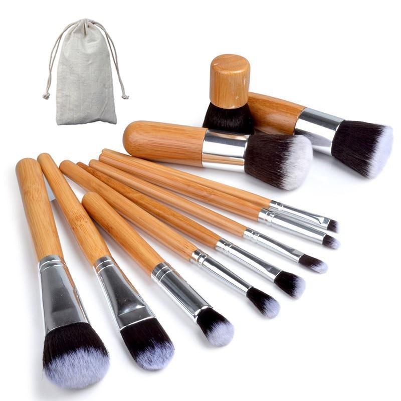 11PCS Professional Bamboo Makeup Brushes Set with Bag Cosmetics Foundation Make Up Brush Tools Kit for Powder Blusher Eye Shadow