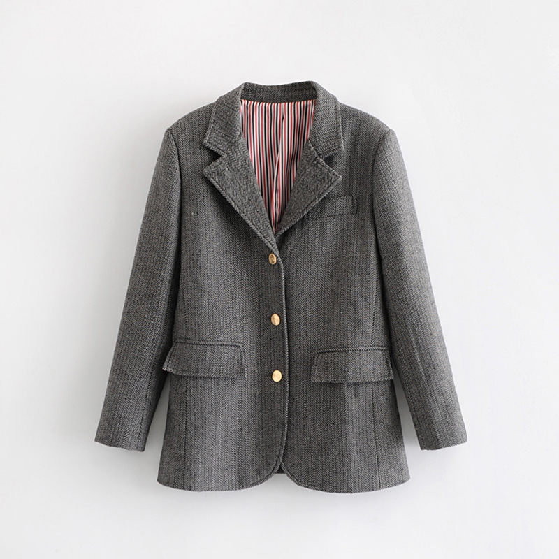 2019 European Women Autumn Suit Turn Down Collar Breasted Buttons Female Suits