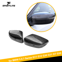 Espelho retrovisor do carro capa para bmw série 5 g30 g31 série 7 g11 g12 4 portas lhd 2017-2019 substituir espelho capa de carbono/abs