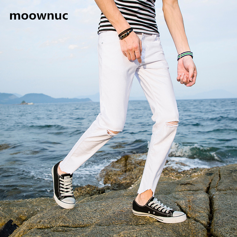 2020 New Arrival High Quality Casual Elastic Jeans Men ,men's Ankle-Length Pants, Black And White Skinny Jeans Men Size 28-36