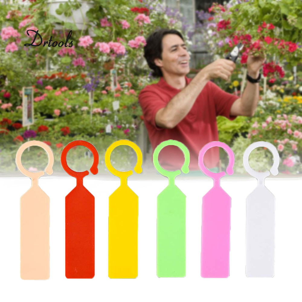 50Pcs Plastic Plant Labels Colored Nursery Garden Hanging Plant Tags Re-Usable Plant Markers Hook Tree Tags (7Colors)