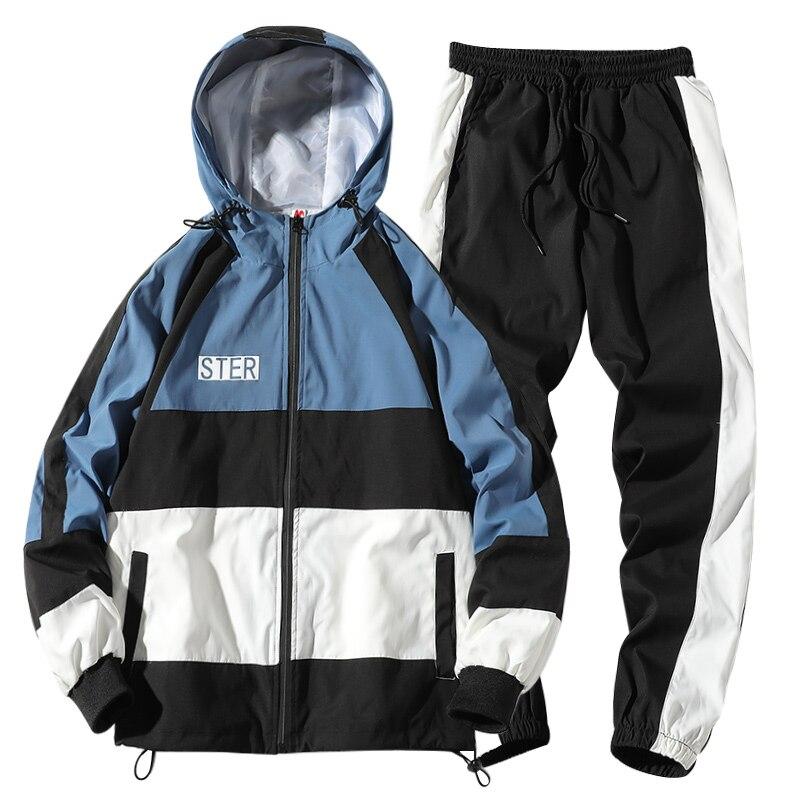 Tracksuit Set Men Autumn Suit Hooded Sweatshirts+Pant Hip Hop Patchwork Two Piece Set For Men Sweatsuit Clothing Dropshipping