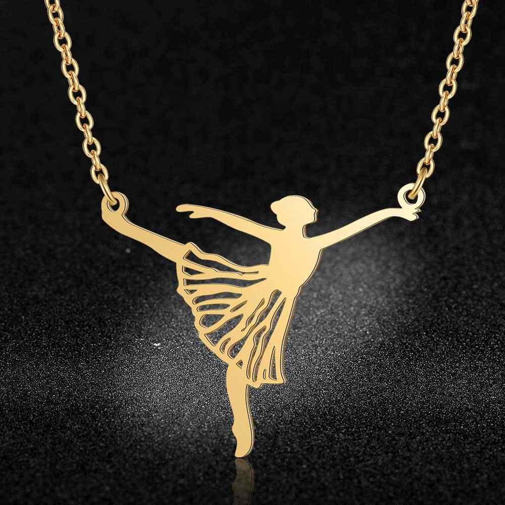 100% Real Stainless Steel Hollow Large Ballerina Ballet Necklace Personality Jewelry Trend Jewelry Necklaces Special Gift