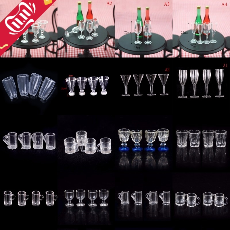 4Pcs 1/12 Mini Resin Transparent Cup Simulation Furniture Model Toys For Barbie Decor Dollhouse Miniature Accessories 20Styles