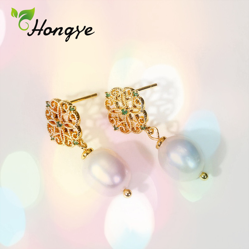 Hongye Hollow Chinese Knot Baroque Pearl Drop Earrings Elegant Women Birthday Anniversary 14k Gold Ear Jewelry Brand New Bijoux in Earrings from Jewelry Accessories