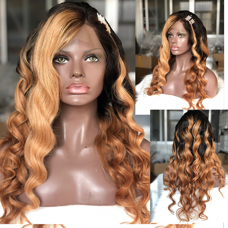 Lace Front Human Hair Wigs Brazilian Ombre Color 180 Density With Blonde Hightlights Long Wavy Remy Hair Eseewigs