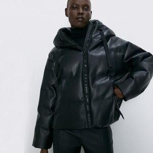 Fandy Lokar Hooded Faux Leather Parkas Women Fashion PU Leather Coats Women Elegant Zipper Cotton Jackets Female Ladies IT