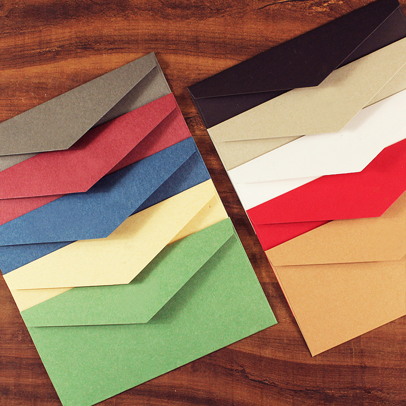 5pcs/lot 11X22cm Vintage Kraft Paper Business Envelopes Wedding Invitation Wallet Envelopes Wholesale Solid Paper Envelopes