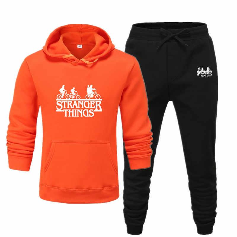 2020 neue männer hoodies anzug Fremden dinge Sport Sportswear Anzüge Frühling Herbst Zwei Stücke Hoodies Hosen Set Männlichen Schweiß anzug