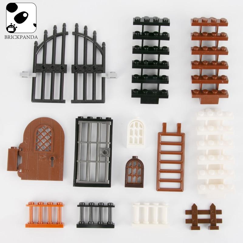 City House Accessories Bricks Window Fence  Stairs Door Mini Figure Parts Garden Military Building Blocks Legoing Toys Children