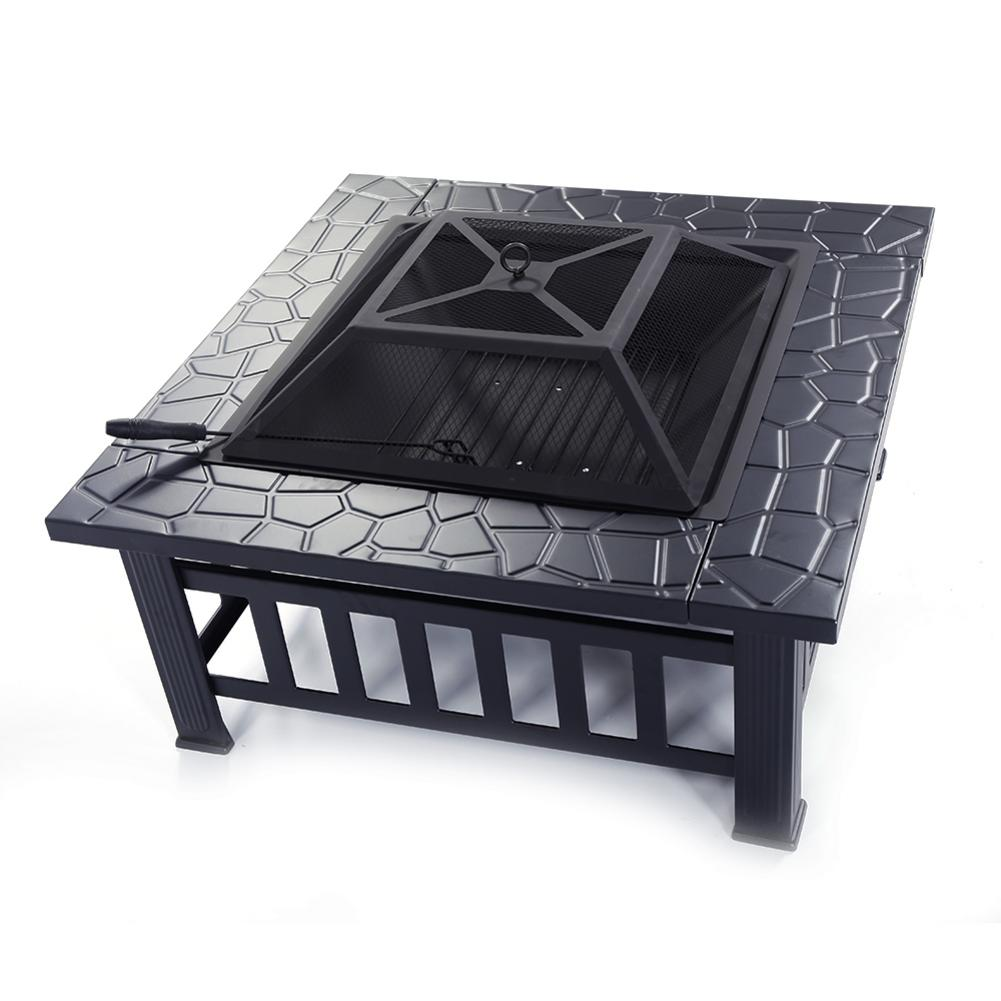 Garden Stove Brazier Portable Courtyard Metal Fire Bowl With Accessories Black Stove Burner