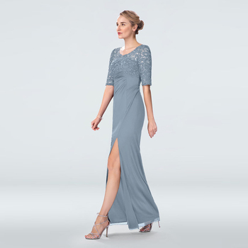 Latest Graceful Full Length Dusty Blue Lace Half Sleeves Mother of the Groom Dresses High Side Split V Neck Wedding Party Gowns white lace details v neck half sleeves beachwear