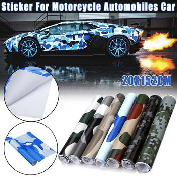 1x Black Camo Vinyl Car Wrap Film Camouflage Vinyl Wrapping Car Sticker Console Computer Laptop Cover Scooter Motorcycle image